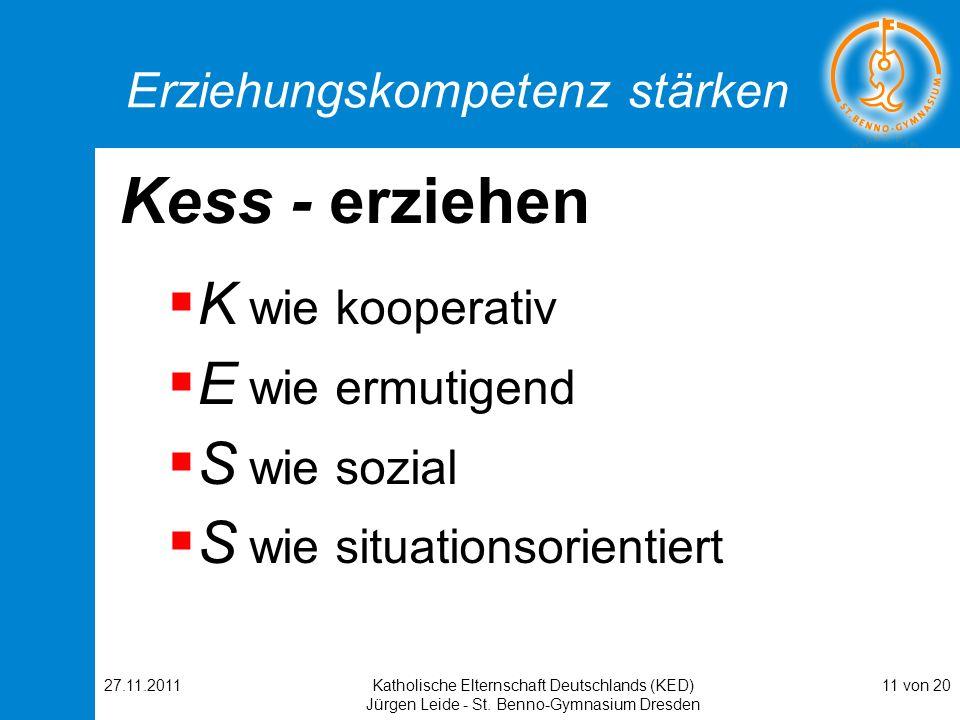 27.11.2011Katholische Elternschaft Deutschlands (KED) Jürgen Leide - St. Benno-Gymnasium Dresden 11 von 20 Erziehungskompetenz stärken Kess - erziehen