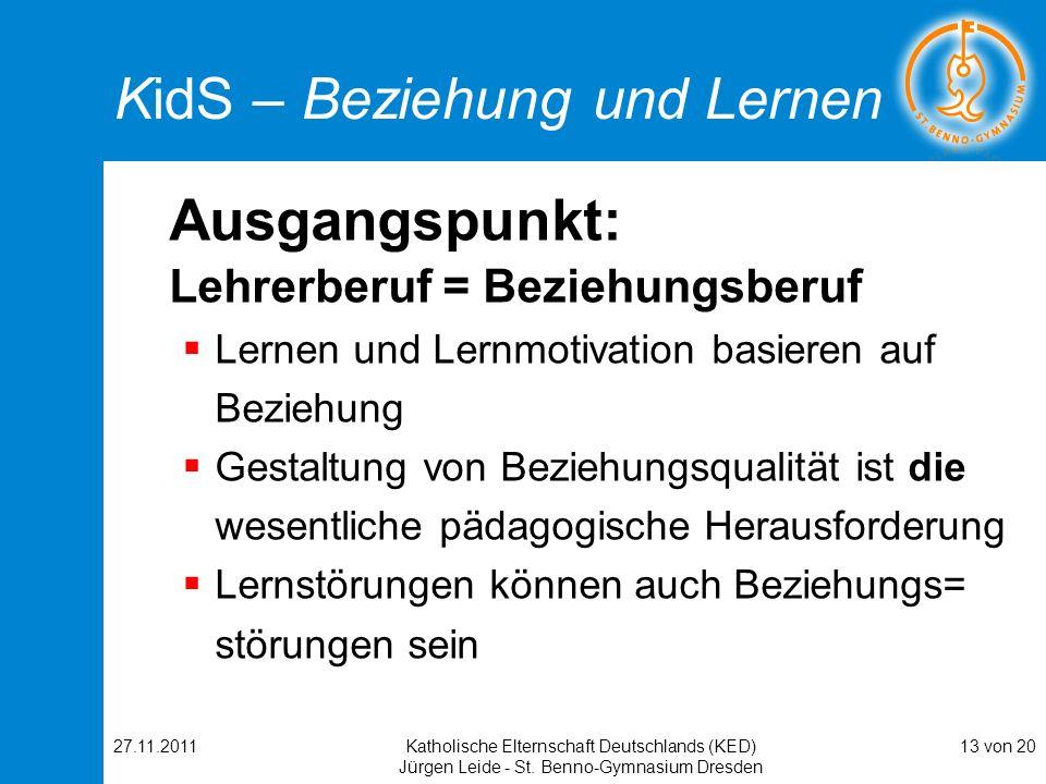 27.11.2011Katholische Elternschaft Deutschlands (KED) Jürgen Leide - St. Benno-Gymnasium Dresden 13 von 20 KidS – Beziehung und Lernen Ausgangspunkt: