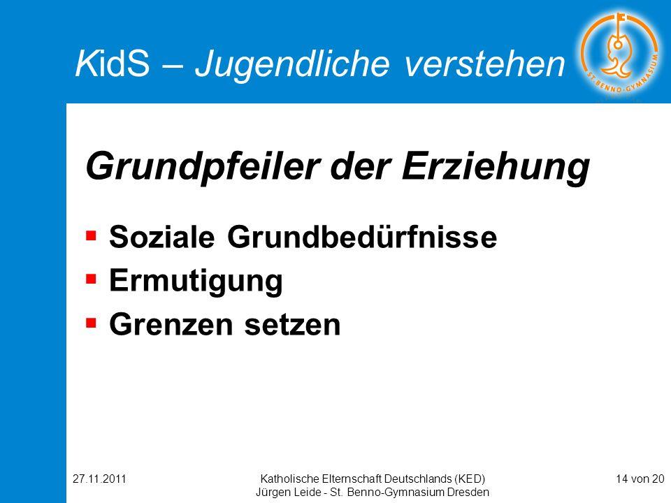 27.11.2011Katholische Elternschaft Deutschlands (KED) Jürgen Leide - St. Benno-Gymnasium Dresden 14 von 20 KidS – Jugendliche verstehen Grundpfeiler d