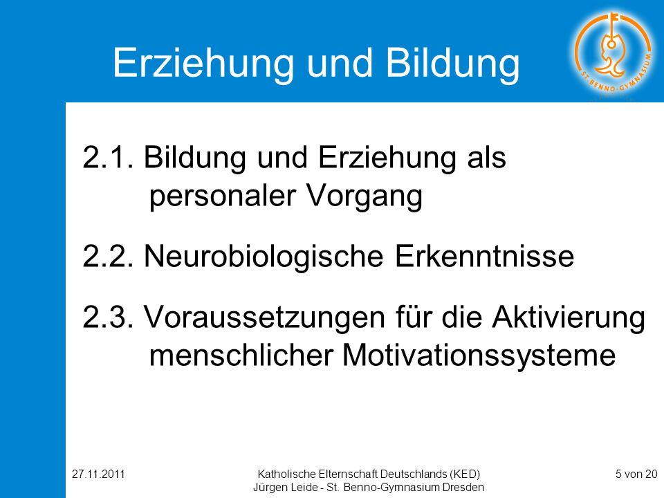 27.11.2011Katholische Elternschaft Deutschlands (KED) Jürgen Leide - St. Benno-Gymnasium Dresden 5 von 20 Erziehung und Bildung 2.1. Bildung und Erzie
