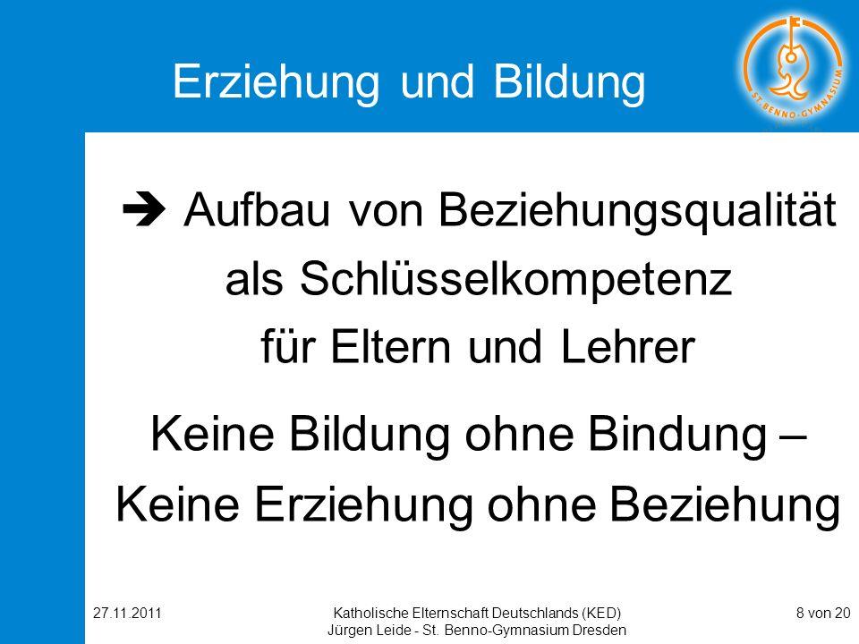 27.11.2011Katholische Elternschaft Deutschlands (KED) Jürgen Leide - St. Benno-Gymnasium Dresden 8 von 20 Erziehung und Bildung Aufbau von Beziehungsq