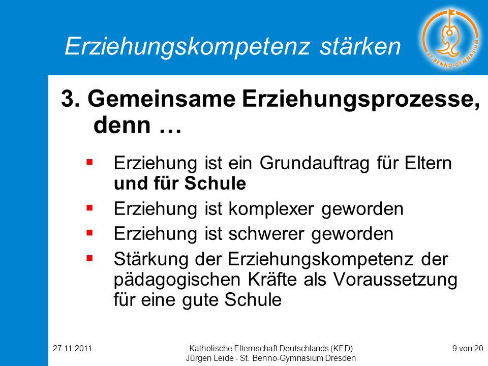 27.11.2011Katholische Elternschaft Deutschlands (KED) Jürgen Leide - St. Benno-Gymnasium Dresden 9 von 20 Erziehungskompetenz stärken 3. Gemeinsame Er