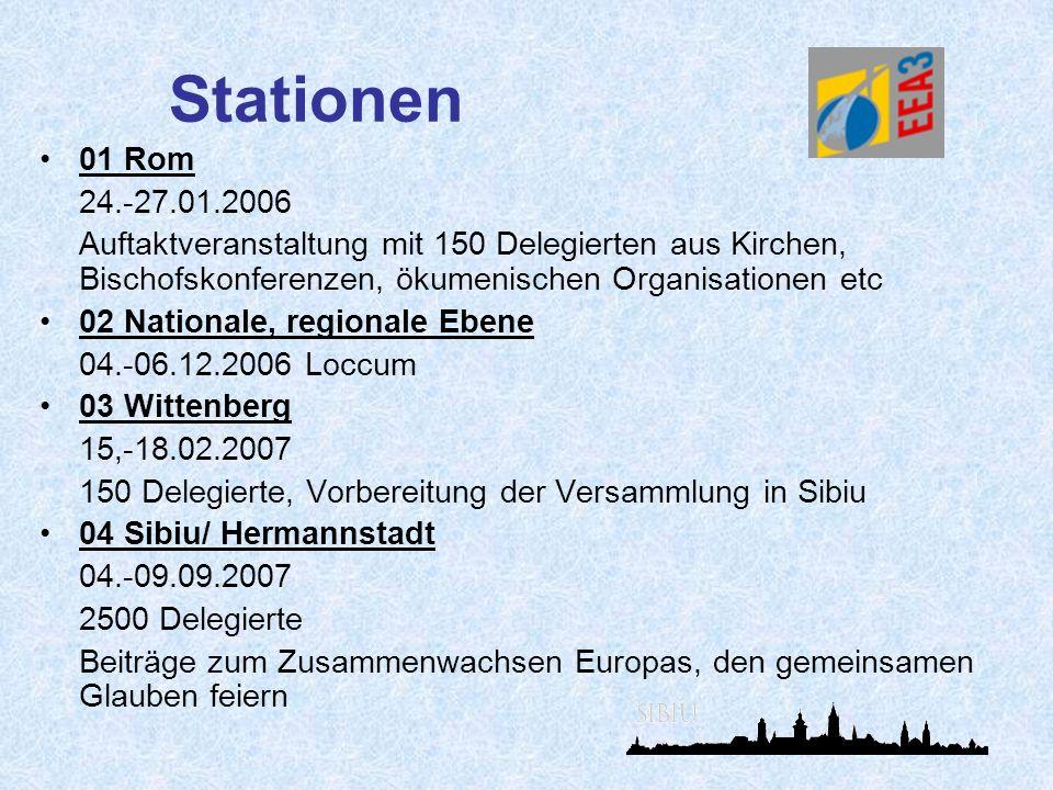 Stationen 01 Rom 24.-27.01.2006 Auftaktveranstaltung mit 150 Delegierten aus Kirchen, Bischofskonferenzen, ökumenischen Organisationen etc 02 National