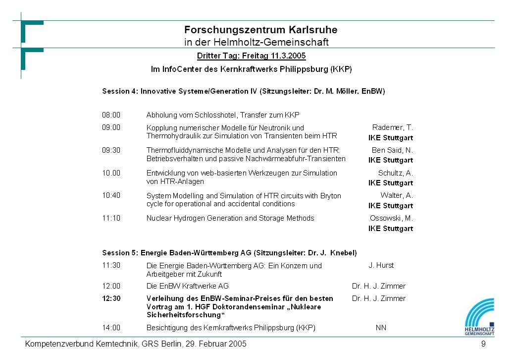 Forschungszentrum Karlsruhe in der Helmholtz-Gemeinschaft Kompetenzverbund Kerntechnik, GRS Berlin, 29.