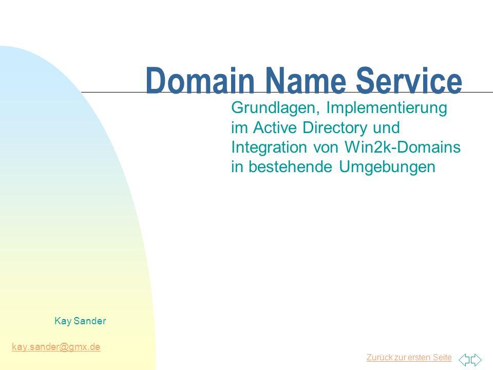 Zurück zur ersten Seite kay.sander@gmx.de Kay Sander Domain Name Service Grundlagen, Implementierung im Active Directory und Integration von Win2k-Dom