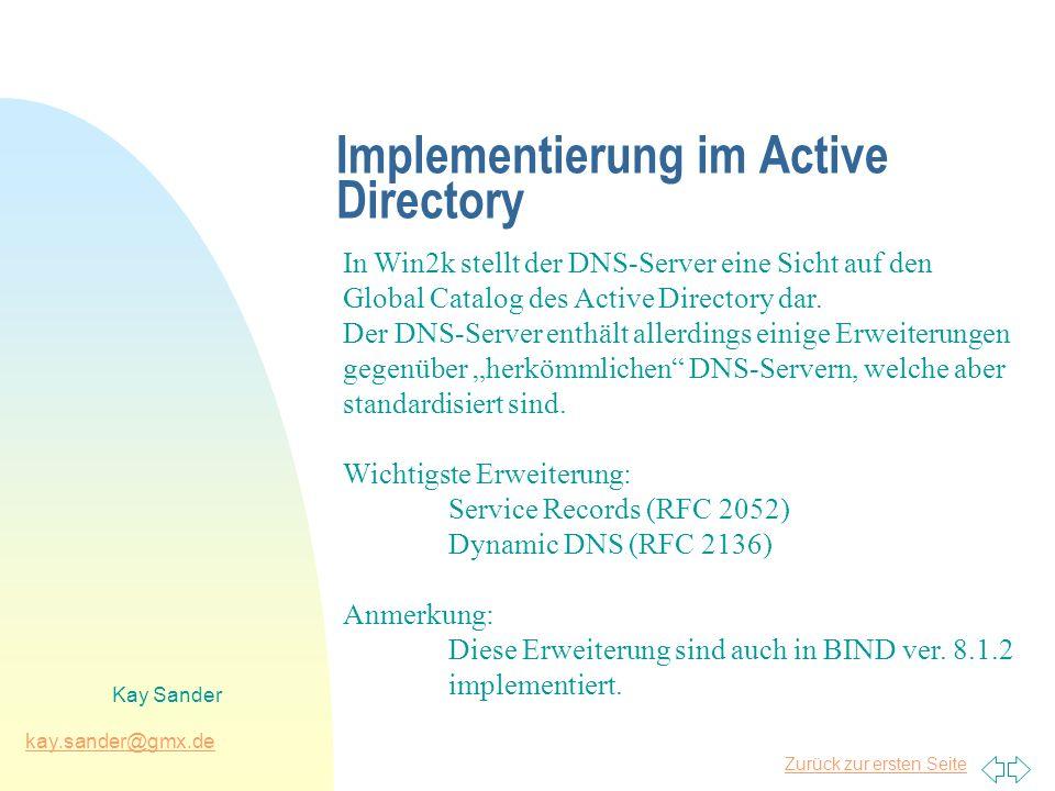 Zurück zur ersten Seite kay.sander@gmx.de Kay Sander Implementierung im Active Directory In Win2k stellt der DNS-Server eine Sicht auf den Global Catalog des Active Directory dar.