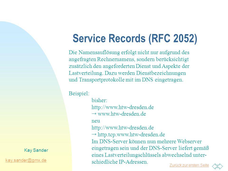 Zurück zur ersten Seite kay.sander@gmx.de Kay Sander Service Records (RFC 2052) Die Namensauflösung erfolgt nicht nur aufgrund des angefragten Rechnernamens, sondern berücksichtigt zusätzlich den angeforderten Dienst und Aspekte der Lastverteilung.