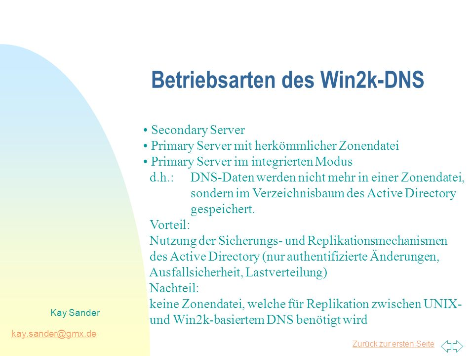 Zurück zur ersten Seite kay.sander@gmx.de Kay Sander Betriebsarten des Win2k-DNS Secondary Server Primary Server mit herkömmlicher Zonendatei Primary