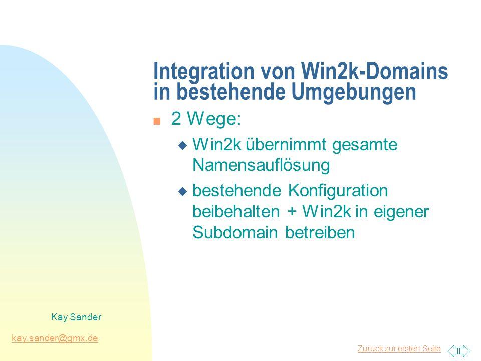 Zurück zur ersten Seite kay.sander@gmx.de Kay Sander Integration von Win2k-Domains in bestehende Umgebungen n 2 Wege: u Win2k übernimmt gesamte Namensauflösung u bestehende Konfiguration beibehalten + Win2k in eigener Subdomain betreiben