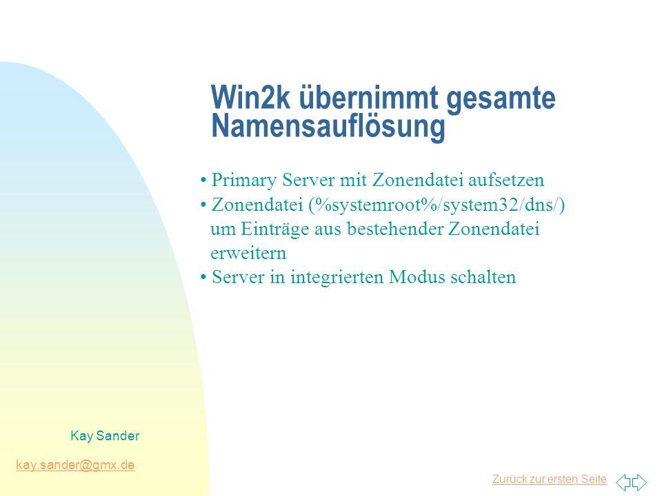 Zurück zur ersten Seite kay.sander@gmx.de Kay Sander Win2k übernimmt gesamte Namensauflösung Primary Server mit Zonendatei aufsetzen Zonendatei (%systemroot%/system32/dns/) um Einträge aus bestehender Zonendatei erweitern Server in integrierten Modus schalten