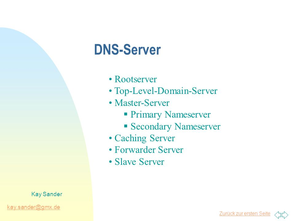 Zurück zur ersten Seite kay.sander@gmx.de Kay Sander Betriebsarten des Win2k-DNS Secondary Server Primary Server mit herkömmlicher Zonendatei Primary Server im integrierten Modus d.h.:DNS-Daten werden nicht mehr in einer Zonendatei, sondern im Verzeichnisbaum des Active Directory gespeichert.