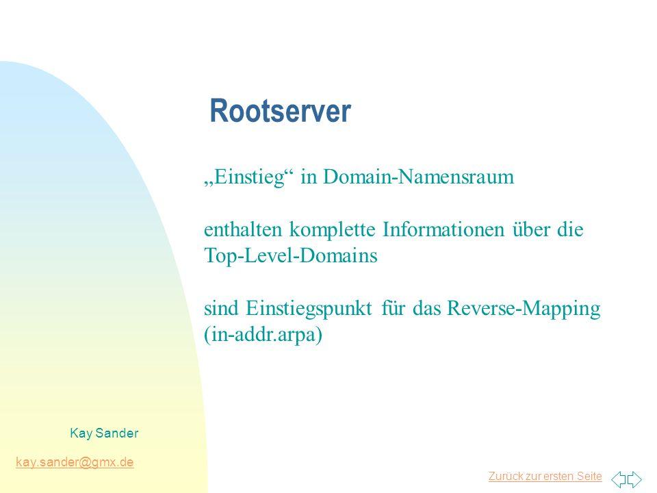 Zurück zur ersten Seite kay.sander@gmx.de Kay Sander Top-Level-Domain-Server enthalten komplette Informationen über die Second-Level-Domains ihrer Zone Beispiel: ns.nic.de enthält die Informationen der Zone de enthält einen Verweis auf den Nameserver der Domain htw-dresden.de