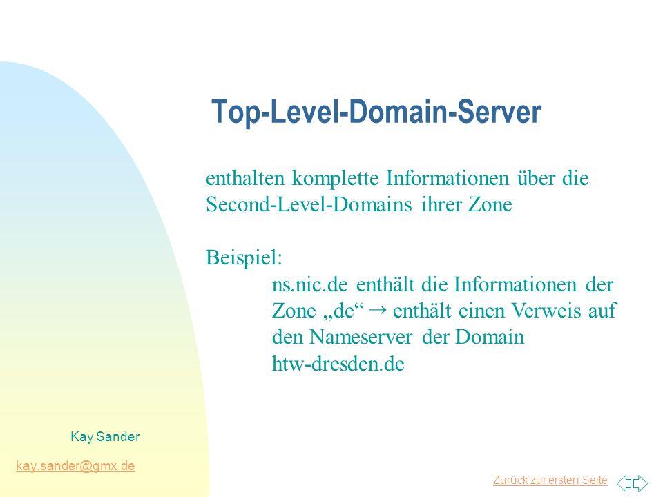 Zurück zur ersten Seite kay.sander@gmx.de Kay Sander Top-Level-Domain-Server enthalten komplette Informationen über die Second-Level-Domains ihrer Zon