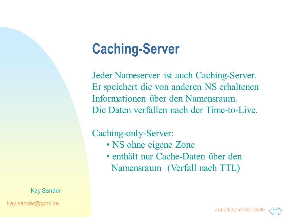 Zurück zur ersten Seite kay.sander@gmx.de Kay Sander Caching-Server Jeder Nameserver ist auch Caching-Server. Er speichert die von anderen NS erhalten
