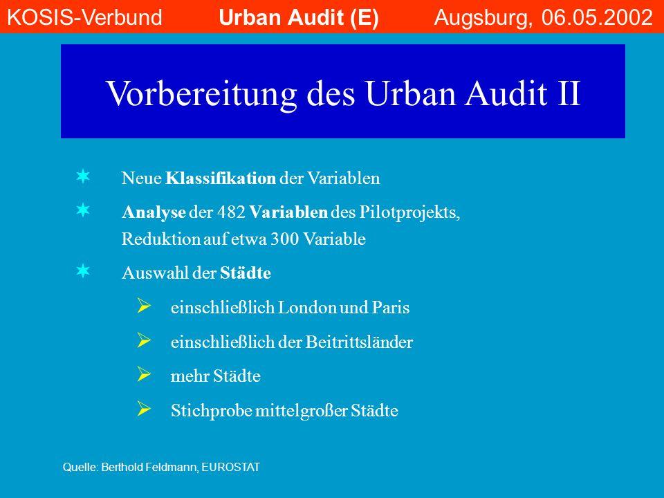 Vorbereitung des Urban Audit II Neue Klassifikation der Variablen Analyse der 482 Variablen des Pilotprojekts, Reduktion auf etwa 300 Variable Auswahl