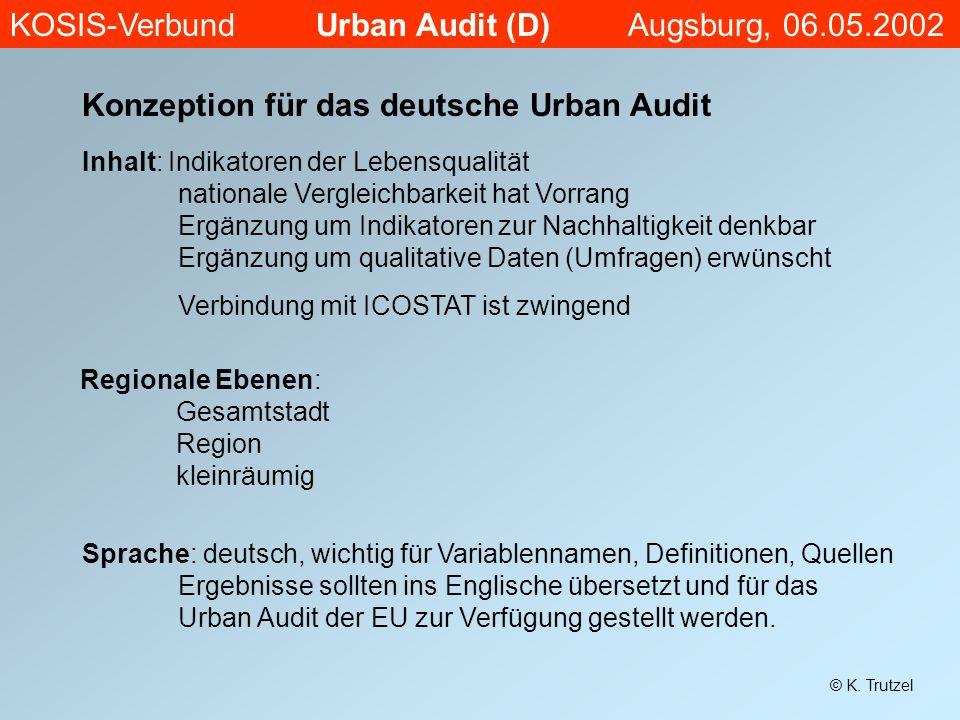 Konzeption für das deutsche Urban Audit Inhalt: Indikatoren der Lebensqualität nationale Vergleichbarkeit hat Vorrang Ergänzung um Indikatoren zur Nac