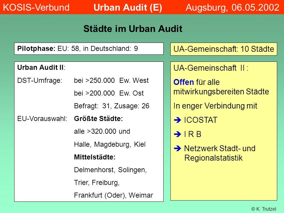 Städte im Urban Audit Pilotphase: EU: 58, in Deutschland: 9 Urban Audit II: DST-Umfrage: bei >250.000 Ew. West bei >200.000 Ew. Ost Befragt:31, Zusage