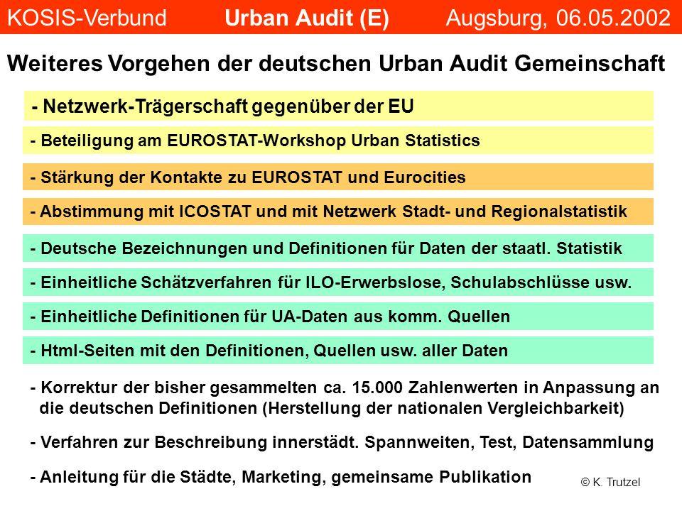Weiteres Vorgehen der deutschen Urban Audit Gemeinschaft - Deutsche Bezeichnungen und Definitionen für Daten der staatl. Statistik - Einheitliche Schä