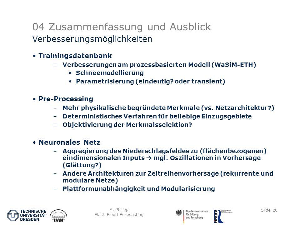 A. Philipp Flash Flood Forecasting Slide 20 04 Zusammenfassung und Ausblick Trainingsdatenbank –Verbesserungen am prozessbasierten Modell (WaSiM-ETH)