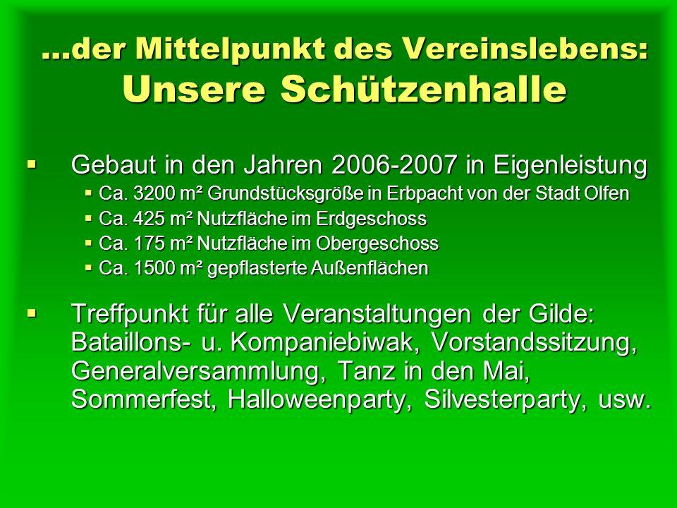 …der Mittelpunkt des Vereinslebens: Unsere Schützenhalle Gebaut in den Jahren 2006-2007 in Eigenleistung Gebaut in den Jahren 2006-2007 in Eigenleistung Ca.