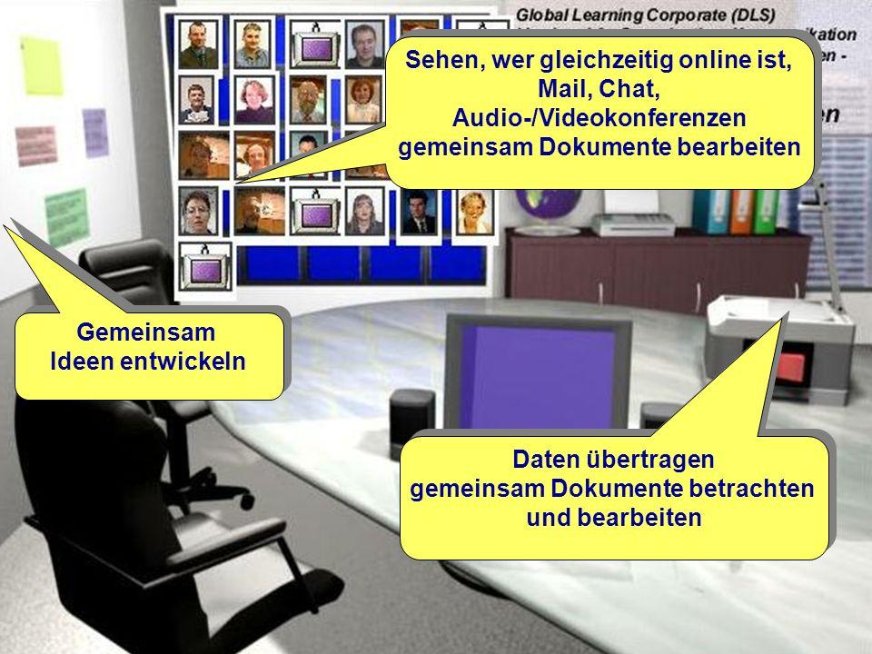 Okt. 2000© ets GmbH - ein Unternehmen der SRH-Gruppe10 Sehen, wer gleichzeitig online ist, Mail, Chat, Audio-/Videokonferenzen gemeinsam Dokumente bea