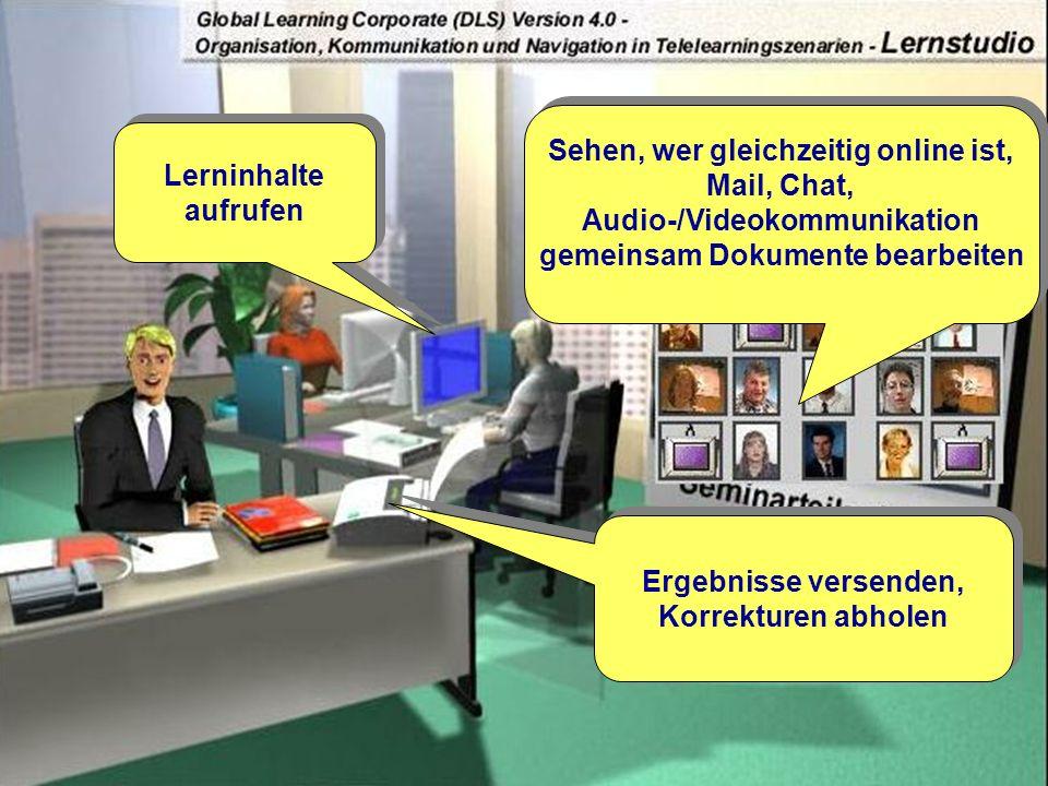 Okt. 2000© ets GmbH - ein Unternehmen der SRH-Gruppe12 Lerninhalte aufrufen Lerninhalte aufrufen Sehen, wer gleichzeitig online ist, Mail, Chat, Audio