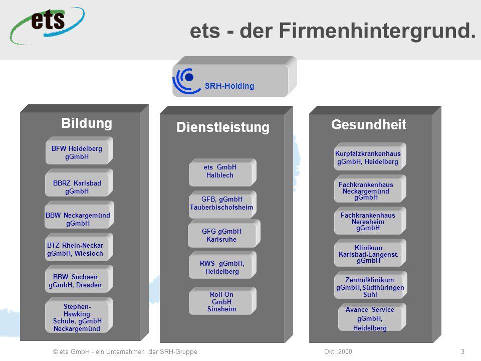 Okt. 2000© ets GmbH - ein Unternehmen der SRH-Gruppe3 Bildung SRH-Holding BFW Heidelberg gGmbH BBRZ Karlsbad gGmbH BBW Neckargemünd gGmbH BTZ Rhein-Ne