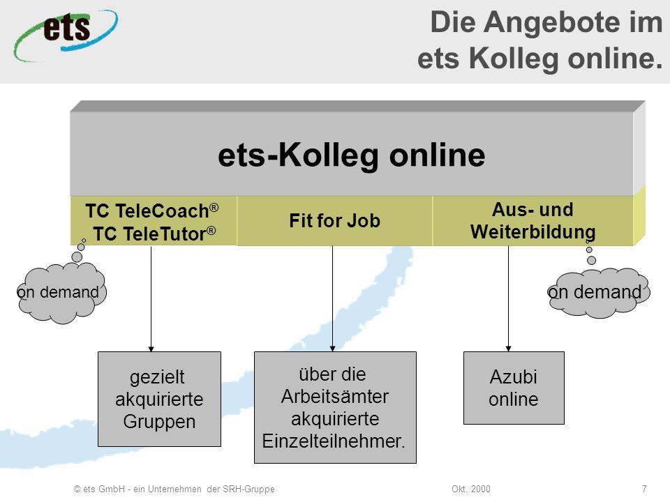 Okt. 2000© ets GmbH - ein Unternehmen der SRH-Gruppe7 TC TeleCoach ® TC TeleTutor ® on demand Fit for Job über die Arbeitsämter akquirierte Einzelteil