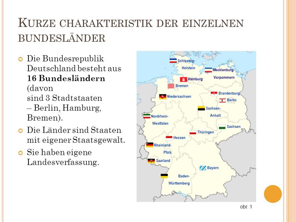 K URZE CHARAKTERISTIK DER EINZELNEN BUNDESLÄNDER Die Bundesrepublik Deutschland besteht aus 16 Bundesländern (davon sind 3 Stadtstaaten – Berlin, Hamb