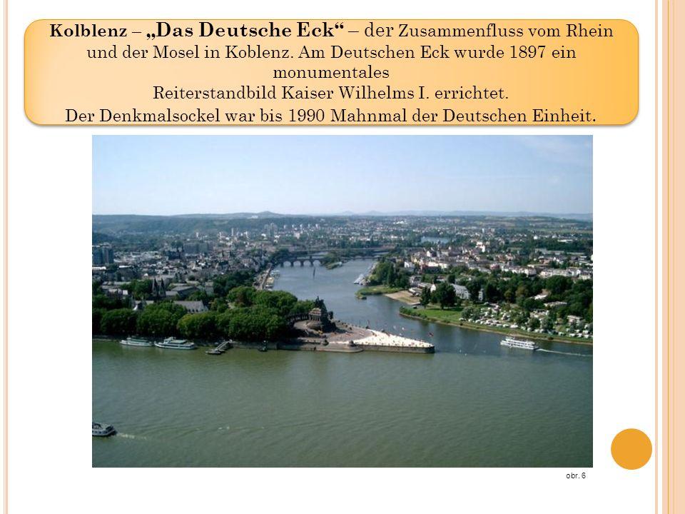 Kolblenz – Das Deutsche Eck – der Zusammenfluss vom Rhein und der Mosel in Koblenz. Am Deutschen Eck wurde 1897 ein monumentales Reiterstandbild Kaise