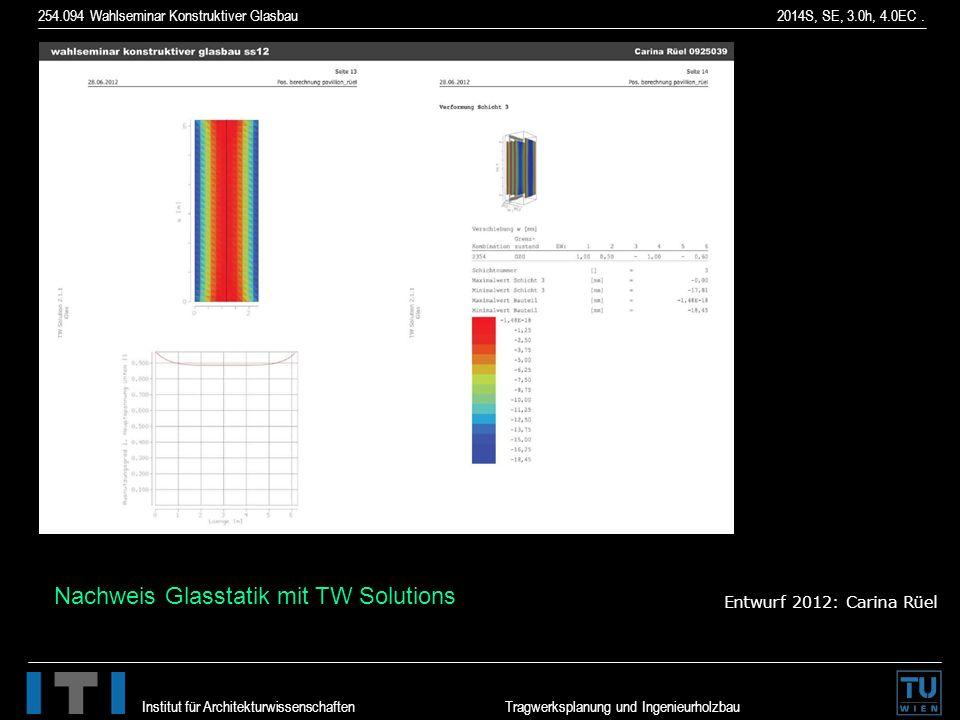 254.094 Wahlseminar Konstruktiver Glasbau 2014S, SE, 3.0h, 4.0EC. Institut für Architekturwissenschaften Tragwerksplanung und Ingenieurholzbau Entwurf