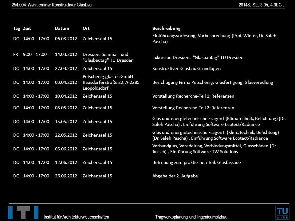 254.094 Wahlseminar Konstruktiver Glasbau 2014S, SE, 3.0h, 4.0EC. Institut für Architekturwissenschaften Tragwerksplanung und Ingenieurholzbau TagZeit