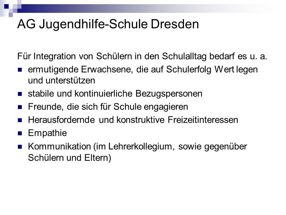 AG Jugendhilfe-Schule Dresden Für Integration von Schülern in den Schulalltag bedarf es u. a. ermutigende Erwachsene, die auf Schulerfolg Wert legen u