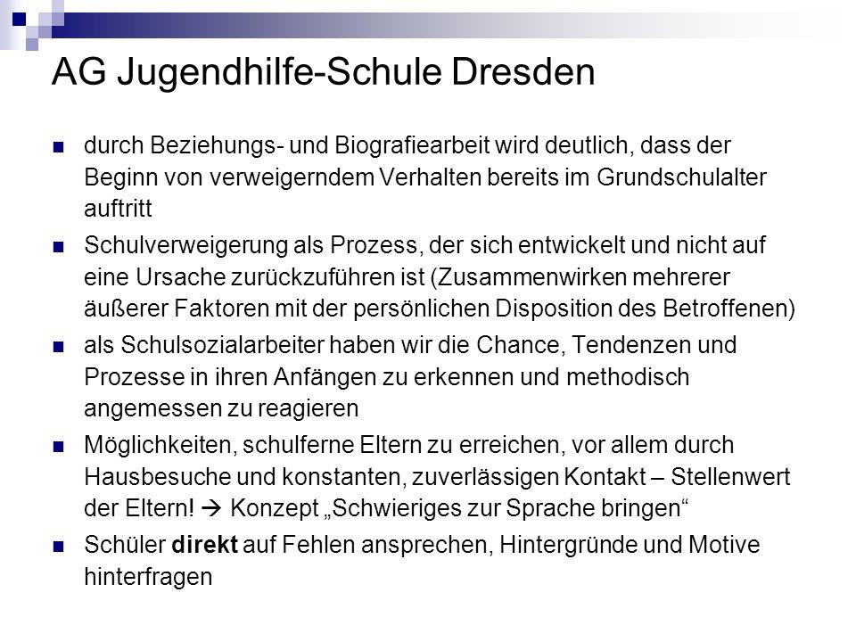 AG Jugendhilfe-Schule Dresden durch Beziehungs- und Biografiearbeit wird deutlich, dass der Beginn von verweigerndem Verhalten bereits im Grundschulal