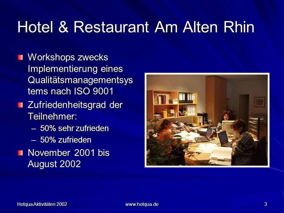 Hotqua Aktivitäten 2002 www.hotqua.de 3 Hotel & Restaurant Am Alten Rhin Workshops zwecks Implementierung eines Qualitätsmanagementsys tems nach ISO 9001 Zufriedenheitsgrad der Teilnehmer: –50% sehr zufrieden –50% zufrieden November 2001 bis August 2002
