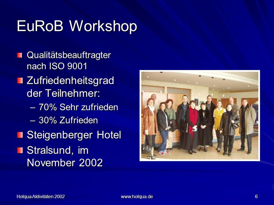 Hotqua Aktivitäten 2002 www.hotqua.de 6 EuRoB Workshop Qualitätsbeauftragter nach ISO 9001 Zufriedenheitsgrad der Teilnehmer: –70% Sehr zufrieden –30% Zufrieden Steigenberger Hotel Stralsund, im November 2002