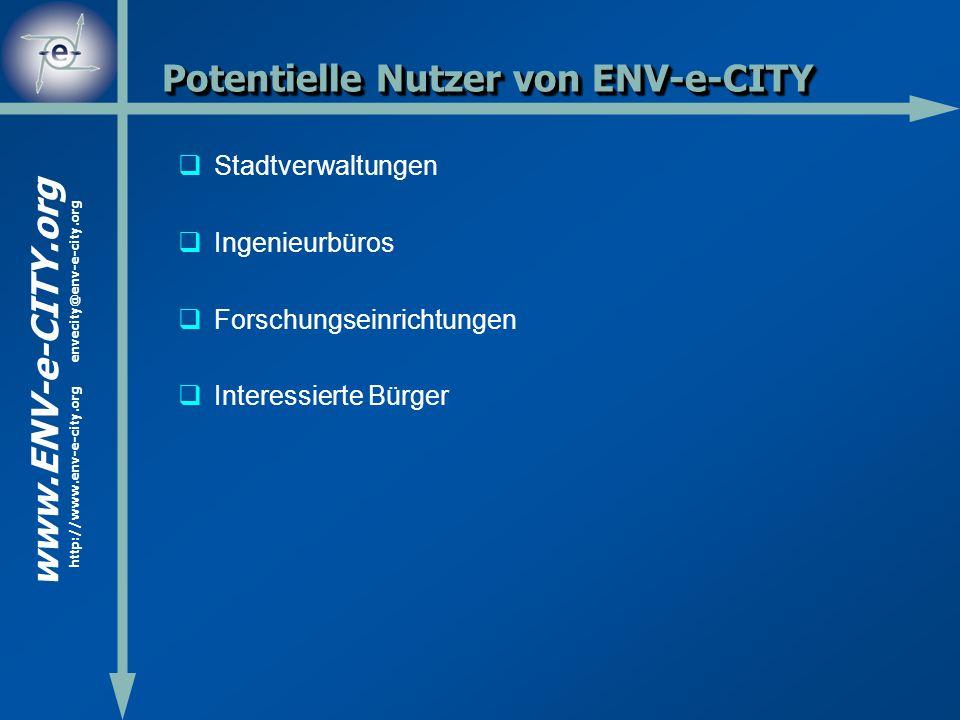 www.ENV-e-CITY.org http://www.env-e-city.org envecity@env-e-city.org Potentielle Nutzer von ENV-e-CITY Stadtverwaltungen Ingenieurbüros Forschungseinr