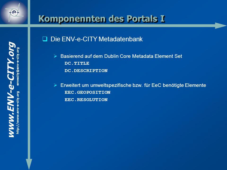 www.ENV-e-CITY.org http://www.env-e-city.org envecity@env-e-city.org Komponennten des Portals I Die ENV-e-CITY Metadatenbank Basierend auf dem Dublin