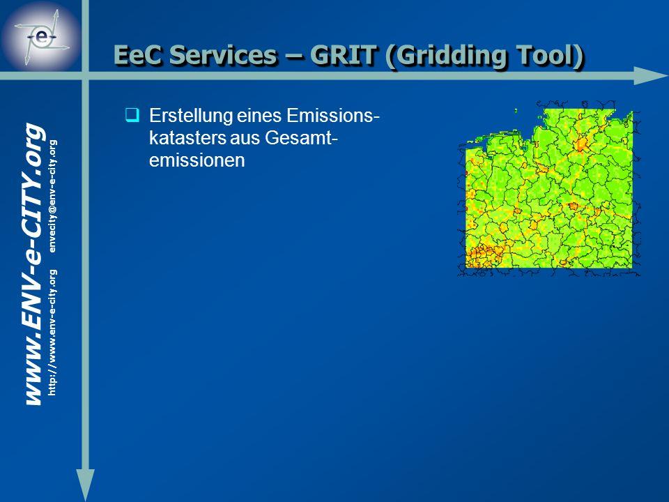 www.ENV-e-CITY.org http://www.env-e-city.org envecity@env-e-city.org EeC Services – GRIT (Gridding Tool) Erstellung eines Emissions- katasters aus Ges