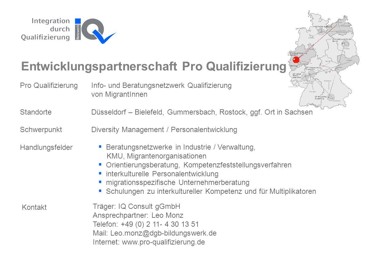 Pro QualifizierungInfo- und Beratungsnetzwerk Qualifizierung von MigrantInnen StandorteDüsseldorf – Bielefeld, Gummersbach, Rostock, ggf.