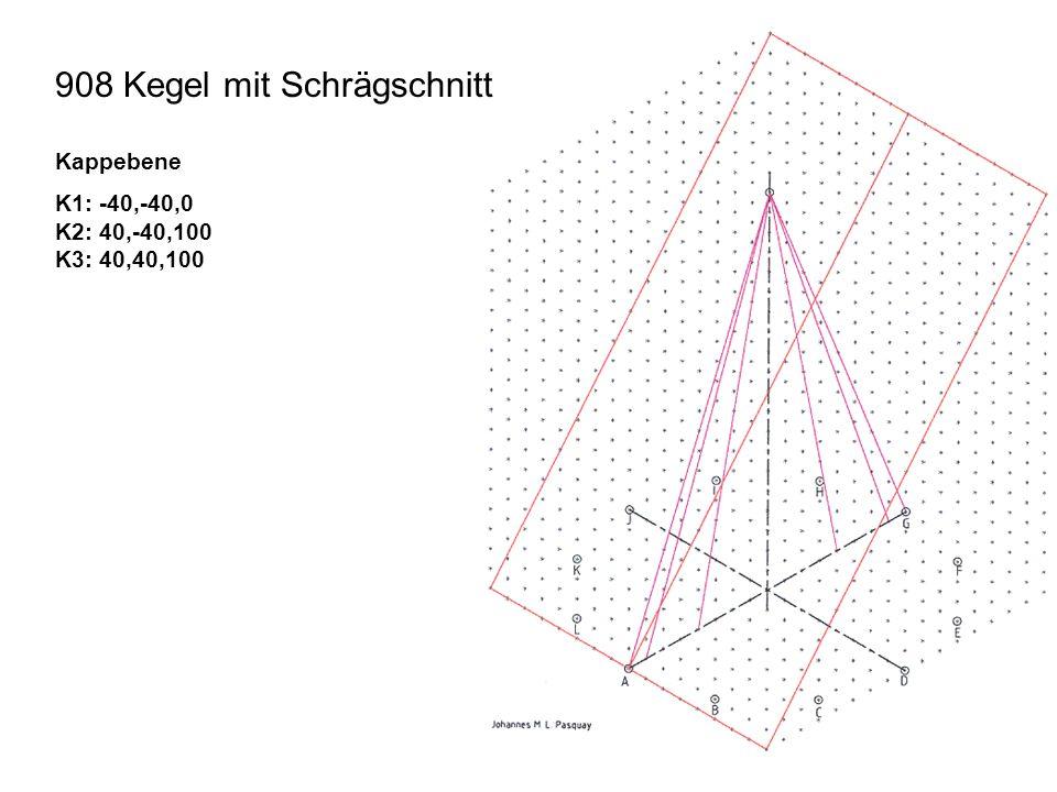 908 Kegel mit Schrägschnitt Kappebene K1: -40,-40,0 K2: 40,-40,100 K3: 40,40,100