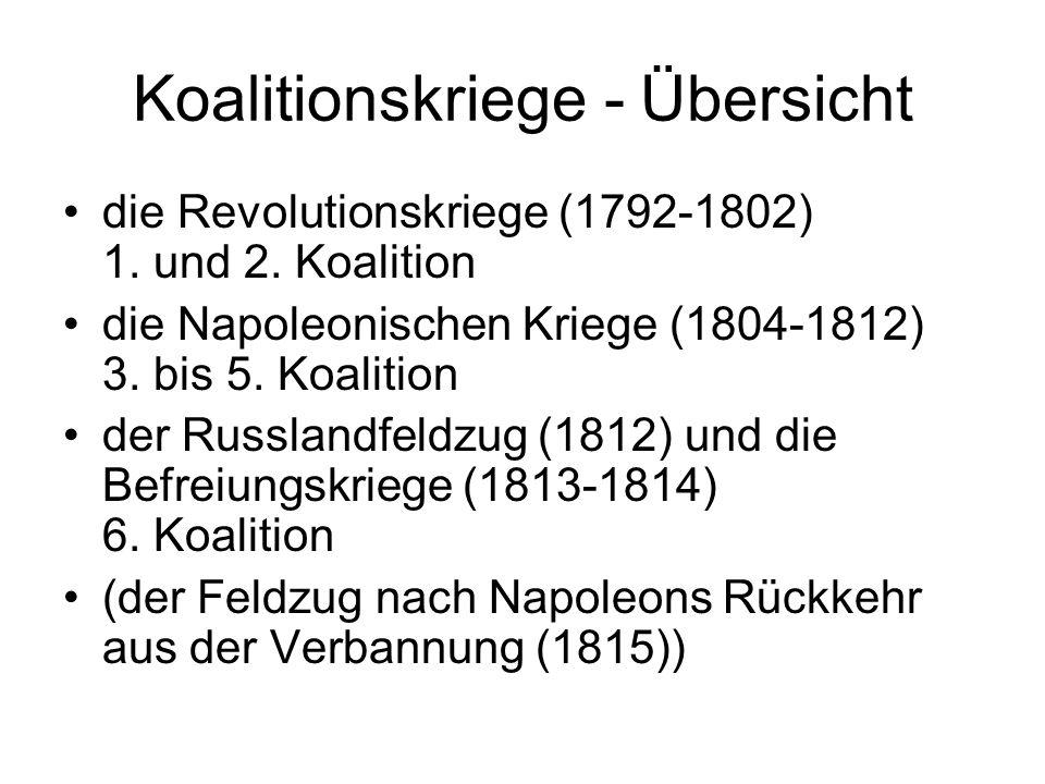 Koalitionskriege - Übersicht die Revolutionskriege (1792-1802) 1. und 2. Koalition die Napoleonischen Kriege (1804-1812) 3. bis 5. Koalition der Russl