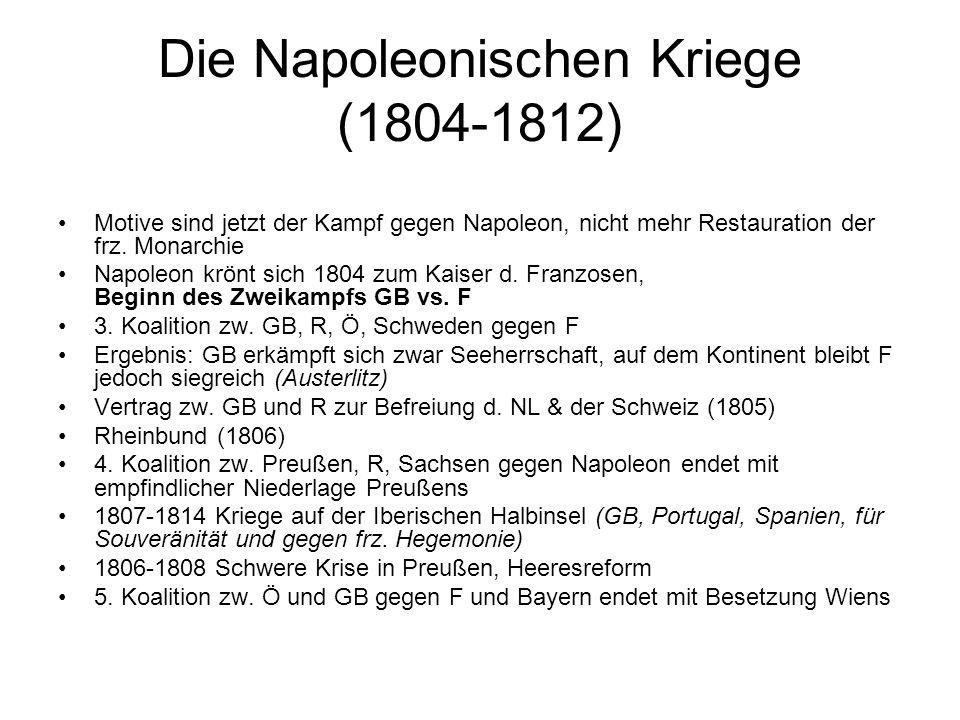 Die Napoleonischen Kriege (1804-1812) Motive sind jetzt der Kampf gegen Napoleon, nicht mehr Restauration der frz. Monarchie Napoleon krönt sich 1804