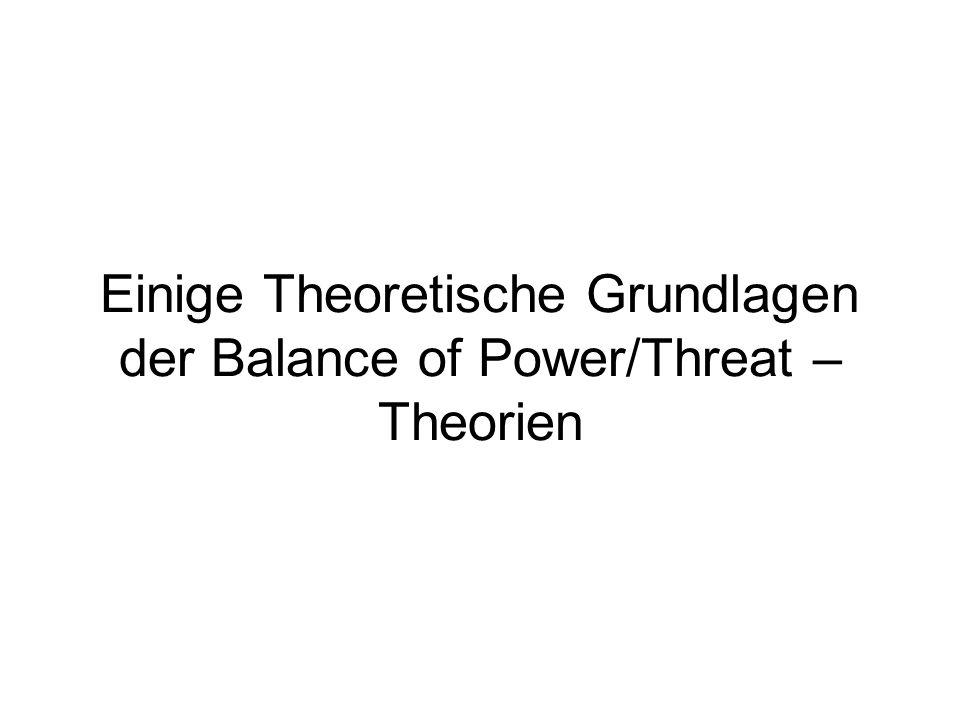 Einige Theoretische Grundlagen der Balance of Power/Threat – Theorien