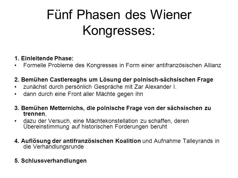 Fünf Phasen des Wiener Kongresses: 1. Einleitende Phase: Formelle Probleme des Kongresses in Form einer antifranzösischen Allianz 2. Bemühen Castlerea