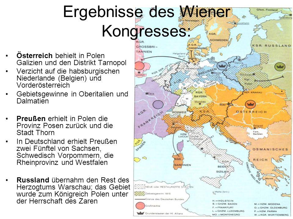 Ergebnisse des Wiener Kongresses: Österreich behielt in Polen Galizien und den Distrikt Tarnopol Verzicht auf die habsburgischen Niederlande (Belgien)
