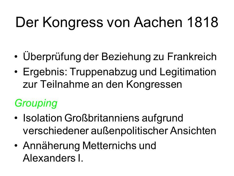 Der Kongress von Aachen 1818 Überprüfung der Beziehung zu Frankreich Ergebnis: Truppenabzug und Legitimation zur Teilnahme an den Kongressen Grouping