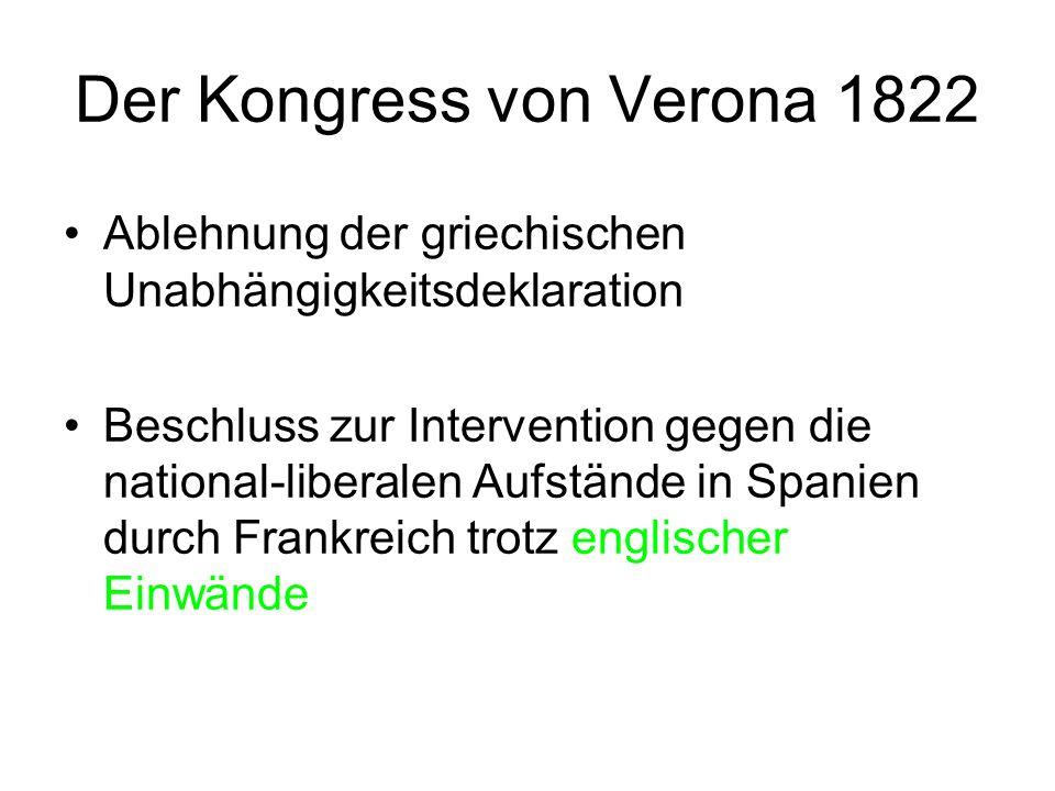 Der Kongress von Verona 1822 Ablehnung der griechischen Unabhängigkeitsdeklaration Beschluss zur Intervention gegen die national-liberalen Aufstände i
