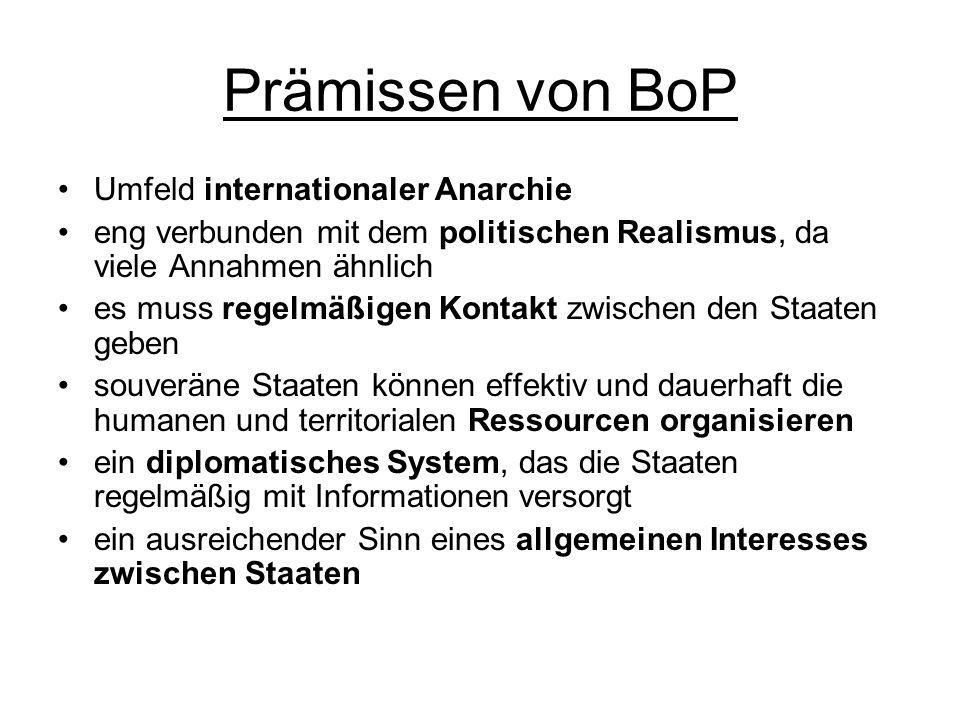 Prämissen von BoP Umfeld internationaler Anarchie eng verbunden mit dem politischen Realismus, da viele Annahmen ähnlich es muss regelmäßigen Kontakt