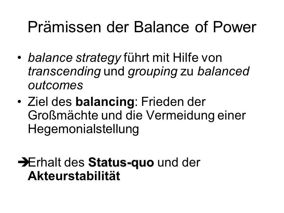 Prämissen der Balance of Power balance strategy führt mit Hilfe von transcending und grouping zu balanced outcomes Ziel des balancing: Frieden der Gro